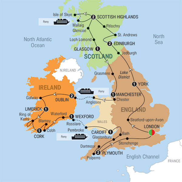 Britain and Ireland Panorama Tour Itinerary